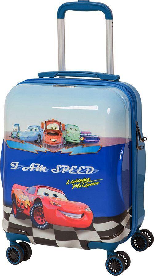 Чемодан детский Sun Voyage Disney. McQueen, на колесах, цвет: синий, 33 лSV017-AC047-16Детский чемодан Sun Voyage из пластика, на 4-х колесах, с рисунком Тачки изготовлен из супер легкого и прочного пластика ABC, покрытого пленкой из поликарбоната. С чемоданом ничего не случится, даже если на него прыгнет малыш. Удобная выдвижная металлическая ручка фиксируется в трех положениях под разный рост ребенка, она будет комфортна и взрослому, и малышу. Есть дополнительная боковая ручка. Большое количество разных по размеру и форме карманов и ремни для фиксации одежды позволят сохранить в багаже чистоту и порядок. Половина чемодана полностью закрывается на молнию, вещи не выпадут при открывании. Вторая половина закрыта перегородкой с легко защелкивающимися фиксаторами. Чемодан легко и бесшумно катится на 4-х прорезиненных колесах с металлическими подшипниками и с поворотом на 360 градусов. Есть боковые ножки. Вес: 2,1 кг; объем: 33 л.Размер: 33 х 46 х 24 см.Как выбрать чемодан. Статья OZON Гид