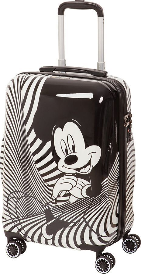 Чемодан детский Sun Voyage Disney. Black&White Micky, 42 лSV016-AC050-20Детский чемодан Sun Voyage из пластика ABC+PC (поликарбонат), на 4-х колесах, с рисунком Микки МаусКорпус пластиковый, 4 колеса. Размер 35x57x23 Объем 42 литра.Чемодан изготовлен из супер легкого и прочного пластика ABC, покрытого пленкой из поликарбоната. С чемоданом ничего не случится, даже если на него прыгнет малыш. Удобная выдвижная металлическая ручка фиксируется в трех положениях под разный рост ребенка, она будет комфортна и взрослому и малышу. Есть дополнительная боковая ручка. Большое количество разных по размеру и форме карманов и ремни для фиксации одежды позволят сохранить в багаже чистоту и порядок. Половина чемодана полностью закрывается на молнию, вещи не выпадут при открывании. Вторая половина закрыта перегородкой с легко защелкивающимися фиксаторами. Чемодан легко и бесшумно катится на 4-х прорезиненных колесах с металлическими подшипниками и с поворотом на 360 градусов. Есть боковые ножки. Чемодан оснащен замочком.
