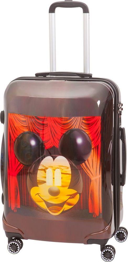 Чемодан детский Sun Voyage Disney. Micky & Dali, на колесах, цвет: коричнево-красный, 68 лSV016-AC051-24Детский чемодан Sun Voyage из пластика, на 4-х колесах, с рисунком Микки Маус и ДалиЧемодан изготовлен из супер легкого и прочного пластика ABC, покрытого пленкой из поликарбоната. С чемоданом ничего не случится, даже если на него прыгнет малыш. Удобная выдвижная металлическая ручка фиксируется в трех положениях под разный рост ребенка, она будет комфортна и взрослому, и малышу. Есть дополнительная боковая ручка. Большое количество разных по размеру и форме карманов и ремни для фиксации одежды позволят сохранить в багаже чистоту и порядок. Половина чемодана полностью закрывается на молнию, вещи не выпадут при открывании. Вторая половина закрыта перегородкой с легко защелкивающимися фиксаторами. Чемодан легко и бесшумно катится на 4-х прорезиненных колесах с металлическими подшипниками и с поворотом на 360 градусов. Есть боковые ножки. Чемодан оснащен замочком.Вес: 3,4 кг; объем: 68 л.Размер: 43 х 67 х 28 см.