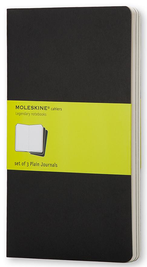 Moleskine Набор записных книжек Cahier Large 40 листов без разметки цвет черный 3 шт385295Набор их 3-х тонких записных книжек с нелинованной бумагой станет надежным спутником в путешествиях и превосходным подарком для любого творческого человека. Записные книжки Cashier от Moleskine отличаются гибкой и прочной картонной обложкой черного цвета и хорошо заметной прошивкой на корешке. Последние 16 листов с перфорацией для легкого отрыва. Есть карман для заметок. В каждый набор из 3 штук вложена карточка с историей Moleskine.