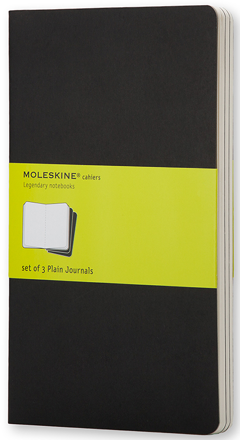 Moleskine Набор записных книжек Cahier Pocket 32 листа без разметки цвет черный 3 шт385281Набор их 3-х тонких записных книжек pocket с нелинованной бумагой станет надежным спутником в путешествиях и превосходным подарком для любого творческого человека. Записные книжки Cashier от Moleskine отличаются гибкой и прочной картонной обложкой черного цвета и хорошо заметной прошивкой на корешке. Последние 16 листов с перфорацией для легкого отрыва. Есть карман для заметок. В каждый набор из 3 штук вложена карточка с историей Moleskine.
