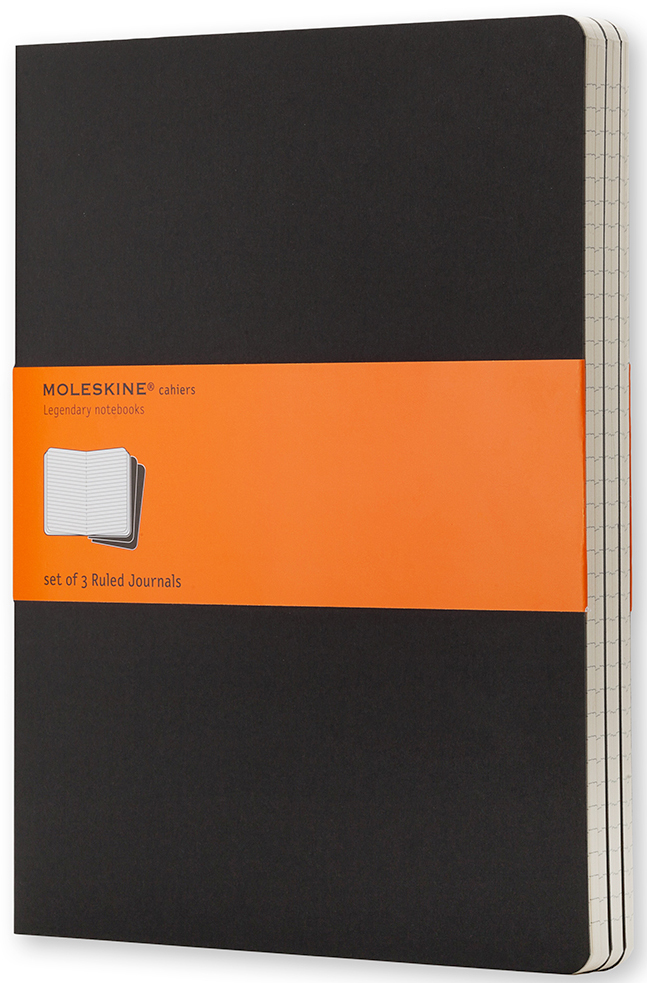 Moleskine Набор записных книжек Cahier Xlarge 60 листов в линейку цвет черный 3 шт385298Набор их 3-х тонких записных книжек в линейку. Записные книжки Cashier от Moleskine отличаются гибкой и прочной картонной обложкой черного цвета и хорошо заметной прошивкой на корешке. Последние 16 листов с перфорацией для легкого отрыва. Есть карман для заметок. В каждый набор из 3 штук вложена карточка с историей Moleskine.