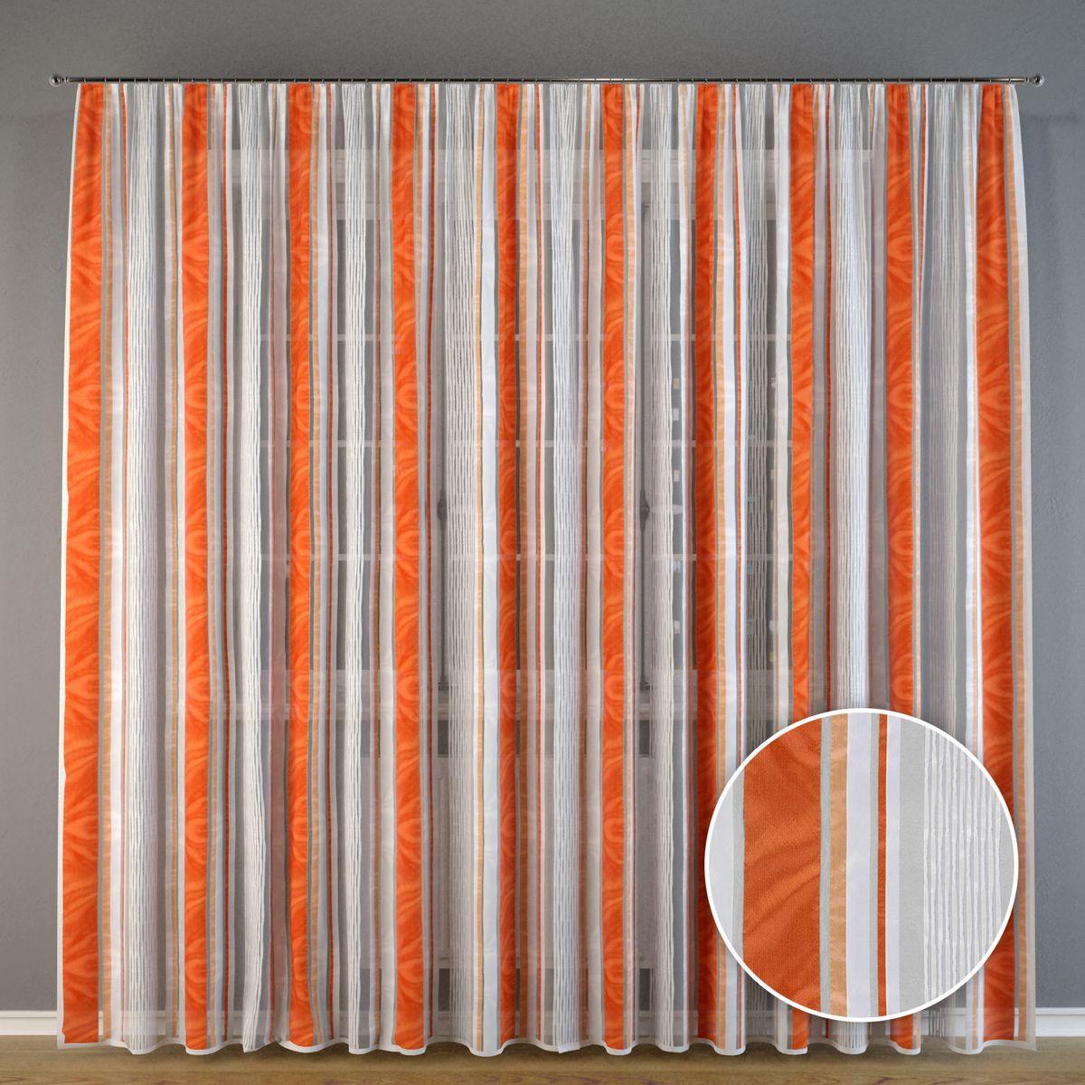 Тюль Ambesonne Оранжевые полоски, на ленте, высота 275 см кожаный ремень klingel цвет черный