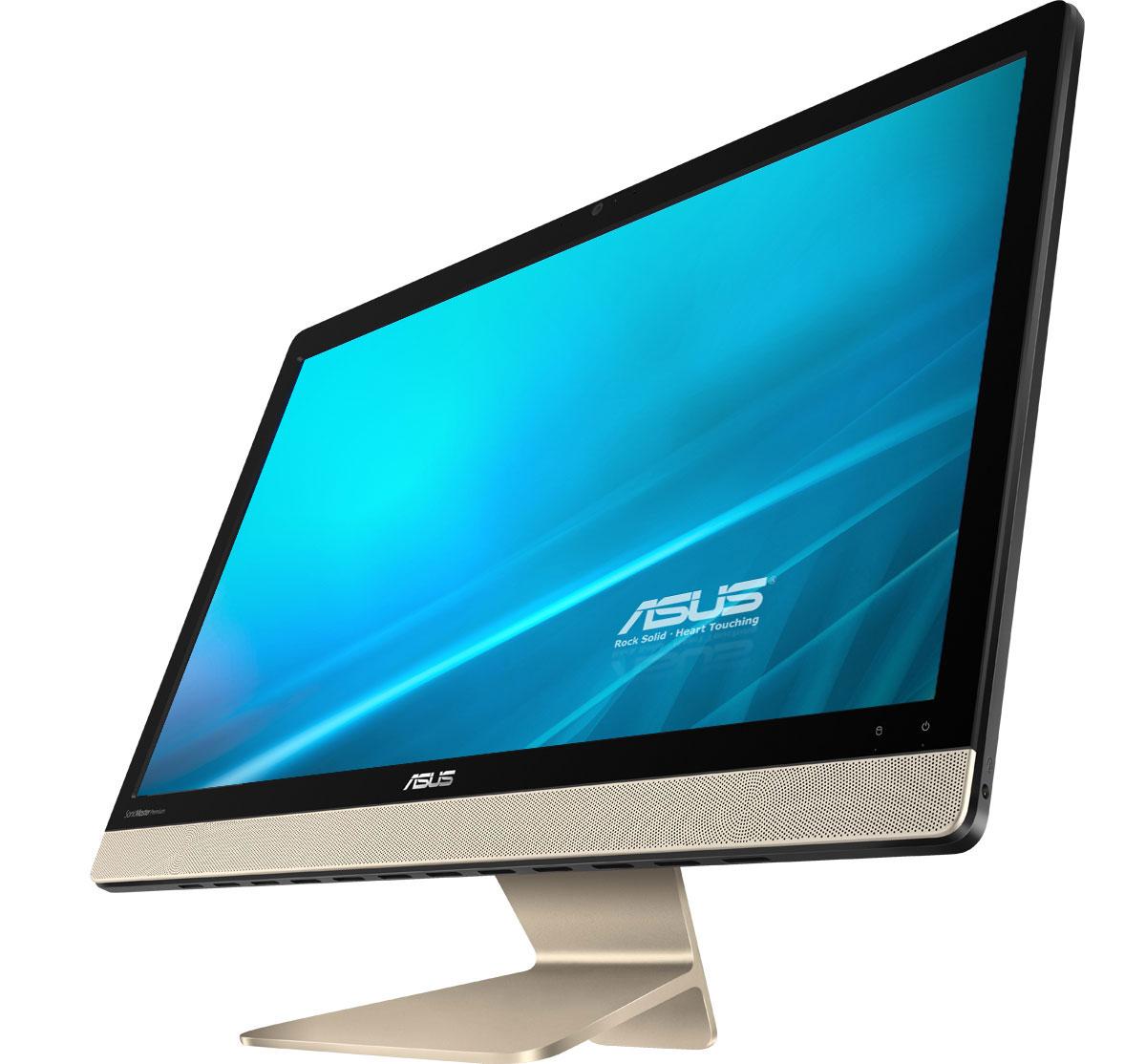 ASUS Vivo AiO V221ICUK-BA051D, Black Gold моноблокV221ICUK-BA051DASUS Vivo AiO V221ICUK - это самая тонкая модель в линейке моноблочных компьютеров Vivo AiO. Она будет особенно хороша для мультимедийных приложений, поскольку включает в себя высококачественную встроенную аудиосистему, выдающую мощный звук с минимальным уровнем искажений.При создании облика моноблочного компьютера Vivo AiO V221ICUK дизайнеры и инженеры ASUS старались минимизировать число отвлекающих деталей, но при этом сделать его максимально удобным в использовании. Изящная и прочная подставка, выполненная из цельной алюминиевой заготовки, позволяет легко задать комфортный угол наклона экрана.Vivo AiO V221ICUK оснащается 21,5-дюймовым дисплеем формата Full HD (1920х1080 пикселей), который выдает детализированную картинку с насыщенными цветами. Этому способствуют эксклюзивные технологии Splendid и Tru2Life Video, оптимизирующие изображение в зависимости от используемых приложений.В аппаратную конфигурацию Vivo AiO V221ICUK входит процессор Intel Core i3-7100U седьмого поколения, который обладает большей производительностью по сравнению с предыдущим поколением. Таким образом, этот моноблочный компьютер прекрасно подходит для повседневных задач, от просмотра сайтов и видео до работы с электронной почтой.Моноблочный компьютер Vivo AiO V221ICUK наделен высококачественной встроенной акустической системой. Включенные в ее состав фронтальные динамики используют волноводы, акустические камеры увеличенного объема и интеллектуальные усилители, чтобы обеспечить более мощный звук при минимальном уровне искажений. Впечатляющие басы и широкий динамический диапазон приятно удивят всех любителей хорошего звука.Благодаря эксклюзивной аудиотехнологии SonicMaster Premium встроенная аудиосистема компьютера Vivo AiO V221ICUK может похвастать мощными басами и кристально чистым воспроизведением вокала - даже на максимальном уровне громкости.Для настройки звучания служит функция AudioWizard, предлагающая выбрать один из пят