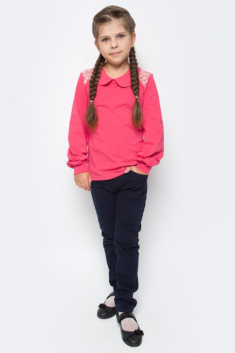 Блузка для девочки M&D, цвет: коралловый. CJR27012MS04. Размер 128CJR27012MS04Стильная блузка для девочки выполнена из эластичного хлопка. Модель с отложным воротником и длинными рукавами выполнена сзади застегивается на пуговицу.