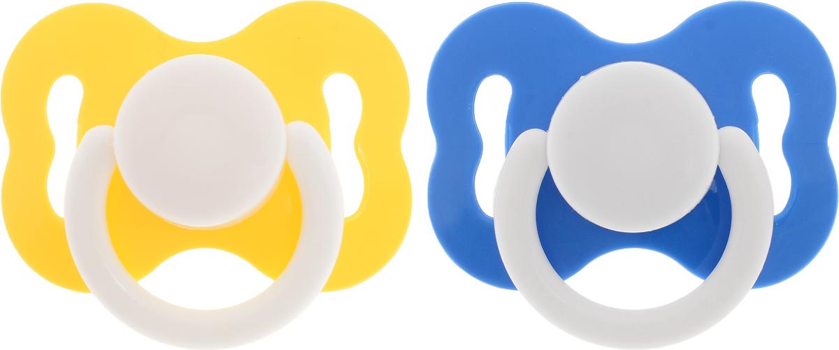Курносики Пустышка латексная ортодонтическая от 0 месяцев цвет синий желтый 2 шт