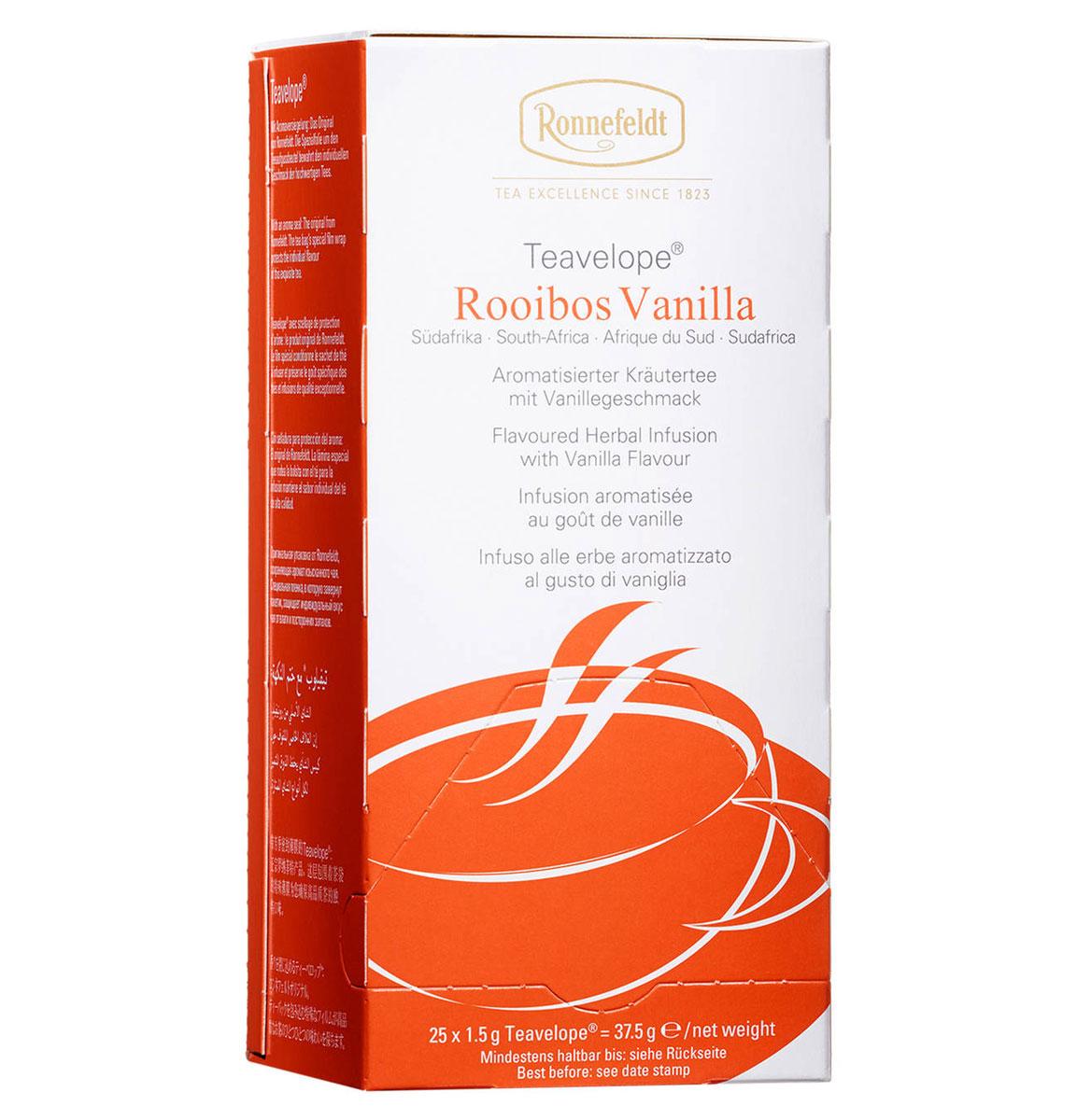 Ronnefeldt Ройбош ваниль травяной чай в пакетиках, 25 шт15080Сладкий, сливочный вкус ванили наилучшим образом подчеркивает насыщенность южноафриканского травяного чая Ronnefeldt. Специальная пленка, в которую завернут пакетик, защищает индивидуальный вкус чая от влаги и посторонних запахов.Уважаемые клиенты! Обращаем ваше внимание на то, что упаковка может иметь несколько видов дизайна. Поставка осуществляется в зависимости от наличия на складе.