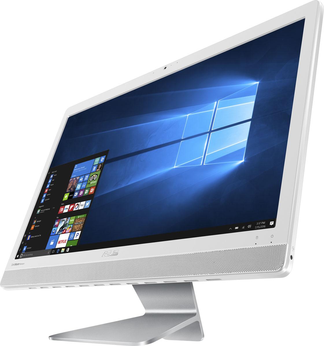 ASUS Vivo AiO V221IDUK-WA041T, White моноблокV221IDUK-WA041TASUS Vivo AiO V221IDUK - это самая тонкая модель в линейке моноблочных компьютеров Vivo AiO. Она будет особенно хороша для мультимедийных приложений, поскольку включает в себя высококачественную встроенную аудиосистему, выдающую мощный звук с минимальным уровнем искажений.При создании облика моноблочного компьютера Vivo AiO V221IDUK дизайнеры и инженеры ASUS старались минимизировать число отвлекающих деталей, но при этом сделать его максимально удобным в использовании. Изящная и прочная подставка, выполненная из цельной алюминиевой заготовки, позволяет легко задать комфортный угол наклона экрана.Vivo AiO V221IDUK оснащается 21,5-дюймовым дисплеем формата Full HD (1920х1080 пикселей), который выдает детализированную картинку с насыщенными цветами. Этому способствуют эксклюзивные технологии Splendid и Tru2Life Video, оптимизирующие изображение в зависимости от используемых приложений.В аппаратную конфигурацию Vivo AiO V221IDUK входит процессор Intel Celeron J3355, который обладает большей производительностью по сравнению с предыдущим поколением. Таким образом, этот моноблочный компьютер прекрасно подходит для повседневных задач, от просмотра сайтов и видео до работы с электронной почтой.Vivo AiO V221IDUK оснащается дискретной видеокартой NVIDIA GeForce 920MX, которая обеспечивает более высокую производительность, чем встроенное графическое ядро, и гарантирует плавное воспроизведение видеоматериалов в форматах высокой четкости.Моноблочный компьютер Vivo AiO V221IDUK наделен высококачественной встроенной акустической системой. Включенные в ее состав фронтальные динамики используют волноводы, акустические камеры увеличенного объема и интеллектуальные усилители, чтобы обеспечить более мощный звук при минимальном уровне искажений. Впечатляющие басы и широкий динамический диапазон приятно удивят всех любителей хорошего звука.Благодаря эксклюзивной аудиотехнологии SonicMaster Premium встроенная аудиосистема компьюте