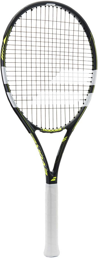 Теннисная ракетка BABOLAT EVOKE 102 (Эвоук 102), с натяжкой, цвет: серый, желтый. Размер 3121189Размер головы: 660 см2/102 дюймаВес:Баланс 330 ммЖесткость обода:Струнная формула 16/19Состав: Сплав графита