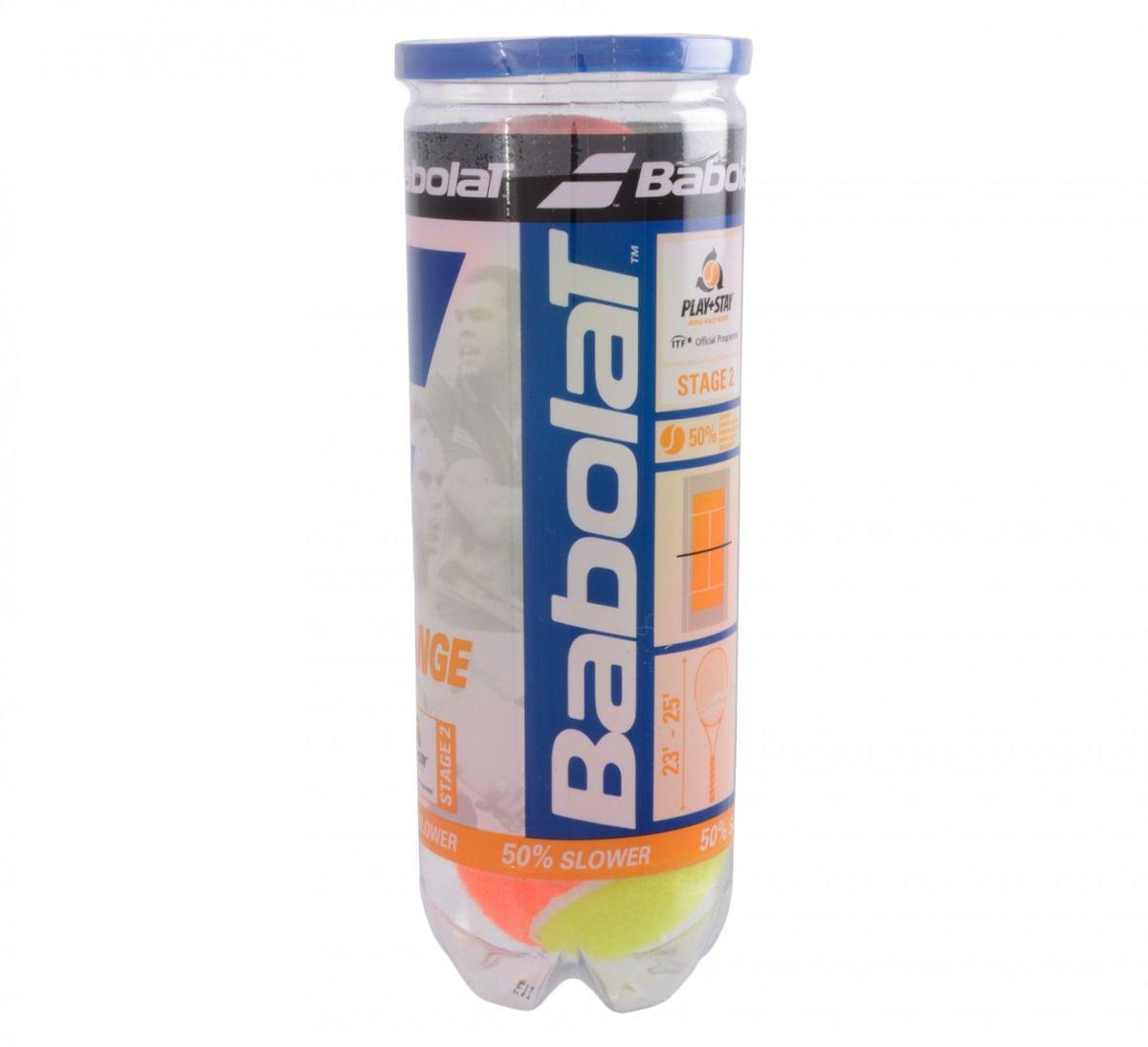 Мяч теннисный Babolat Orange, 3 шт501035Мяч теннисный Babolat Orange изготовлены из высокачесвтеных полимерных материалов и войлока. Скорость отскока на 75% медленее, чем у стандартного мяча. В комплект входят 3 мяча.