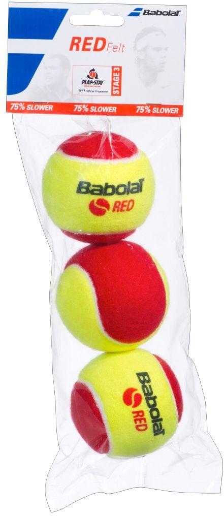 Мяч теннисный Babolat Red Felt, 3 шт501036Мяч теннисный Babolat Orange изготовлены из высококачественных полимерных материалов и войлока. Скорость отскока на 75% медленнее, чем у стандартного мяча. В комплект входят 3 мяча.