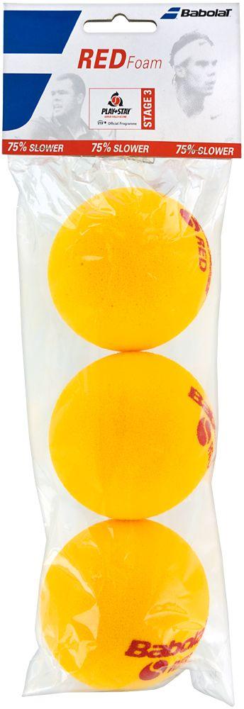Мяч теннисный Babolat Red Foam, 3 шт501037Теннисные мячи Babolat Red Foam изготовлены из высококачественных полимерных материалов и поролона. Скорость отскока на 75% медленее, чем у стандартного мяча. В комплект входят 3 мяча.