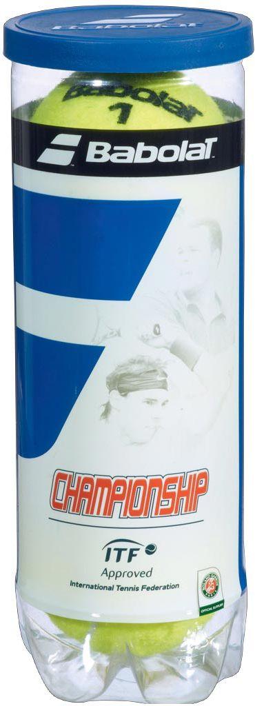 Мяч теннисный Babolat Championship, 3 шт501039Теннисные мячи Babolat Championship изготовлены из высококачественных полимерных материалов. Особенности:Особоедолговременное давлениеОбеспечивают великолепную игру.В комплект входят 3 мяча.