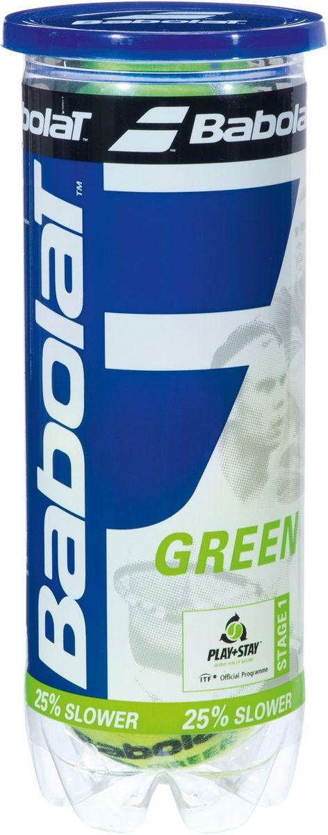 Мяч теннисный Babolat Green, детские, 3 шт501066Теннисные мячи Babolat Greenпредназначены для начинающих игроков любого возраста. Скорость отскока мяча на 25% медленнее, чем у стандартного. В комплект входят три мяча.