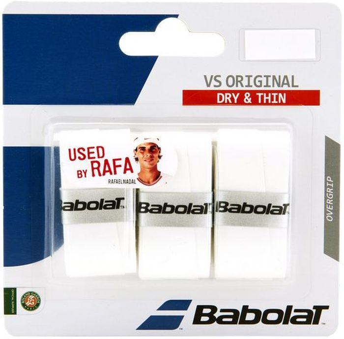 Овергрип BABOLAT VS Grip Original x 3 (Ви Эс Грип Ориджинал), цвет: белый653040Слой полиуретана и тончайшая гладкая поверхность.Сухой на ощупь, тонкий овергрип (0,4 мм). Используется игроками Babolat.1 блистер - 3 овергрипа