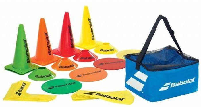 Тренерский набор Babolat730005Тренерский набор состоит из 12 полосок, 4 уголков, 8 мишеней, 8 -ми конусов по 30 см и 8 -ми маленьких конусов. Поставляется в большой сумке.