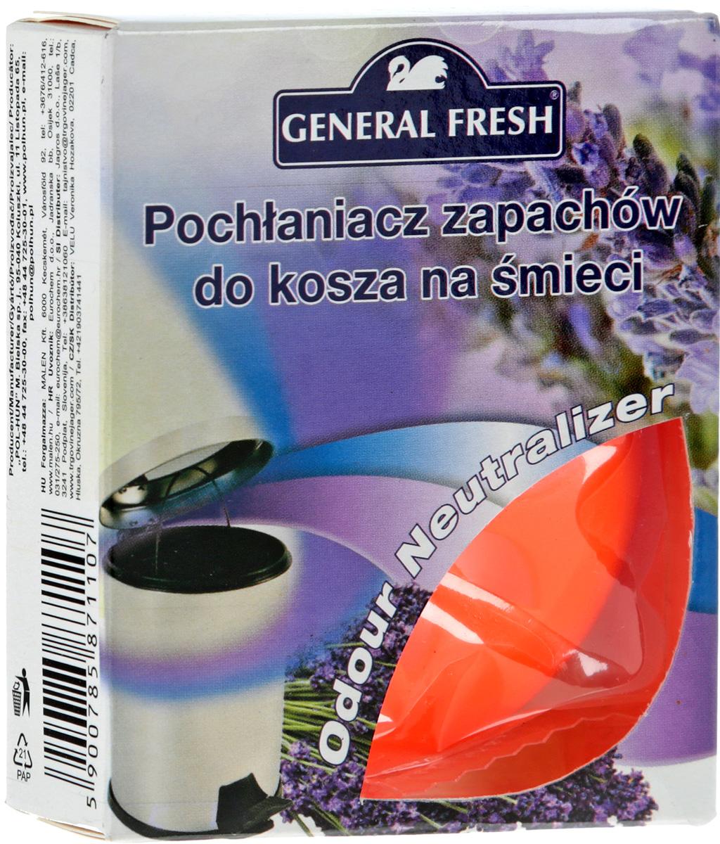 Нейтрализатор запахов General Fresh, для мусорных ведер, с ароматом лаванды587110Нейтрализатор запахов General Fresh, выполненный из пластика, поможет эффективно побороть неприятные запахи из мусорного ведра. Поглотитель запахов для мусорных ведер, в отличие от обычных освежителей, не только маскирует тяжелый запах, но и устраняет его у самого источника, блокируя распространение по другим помещениям в доме.
