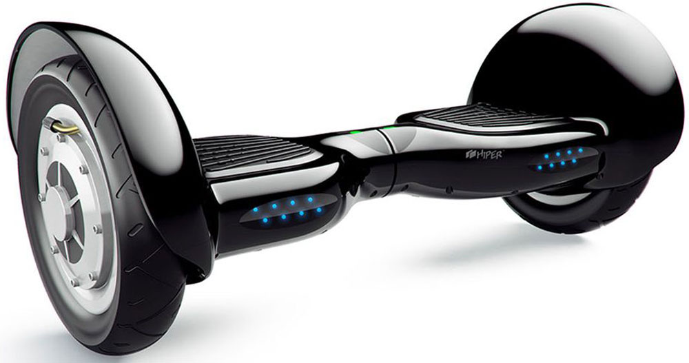 Гироскутер Hiper ES100 10, цвет: черныйES100Гироскутер HIPER ES100, старшая модель в линейке. Десятидюймовые колеса, клиренс 46 миллиметров, емкий аккумулятор и стильный молодежный дизайн делают егоне просто средством передвижения, а модным аксессуаром. Минимально допустимый вес пользователя скутера составляет 20 килограмм, максимальный 120 килограмм. Запас хода 20 км, а время заряда около 2 часов.