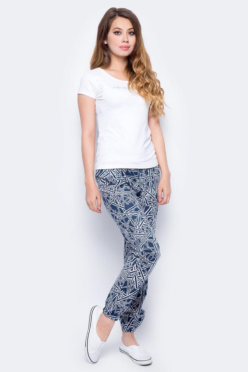 Брюки для дома женские Calvin Klein Underwear, цвет: темно-синий, белый. QS5815E_NI8. Размер S (46) calvin klein women s textured beaded ruched jersey dress 4 black