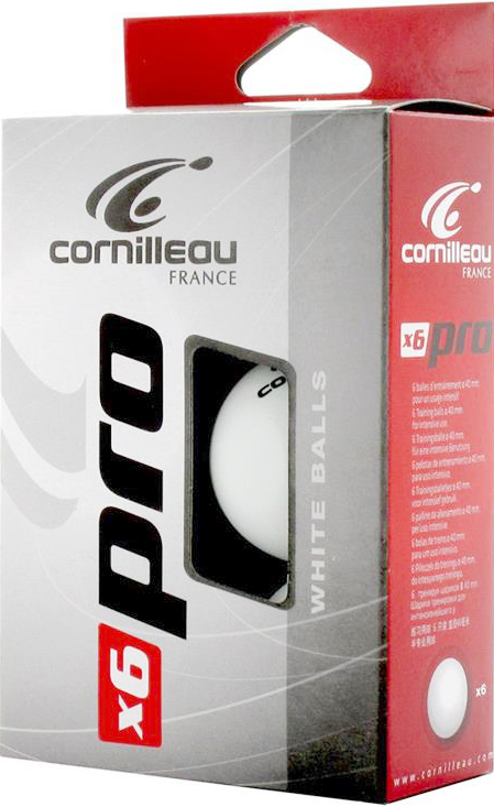 Мяч Cornilleau Pro, цвет: белый, 40 мм, 6 шт340500Мячи CORNILLEAU PRO Высококачественные тренировочные мячи 1-Звезда. Диаметр: 40 ммМатериал: целлулоидЦвет: белыйКол-во в коробке: 6 мячей.