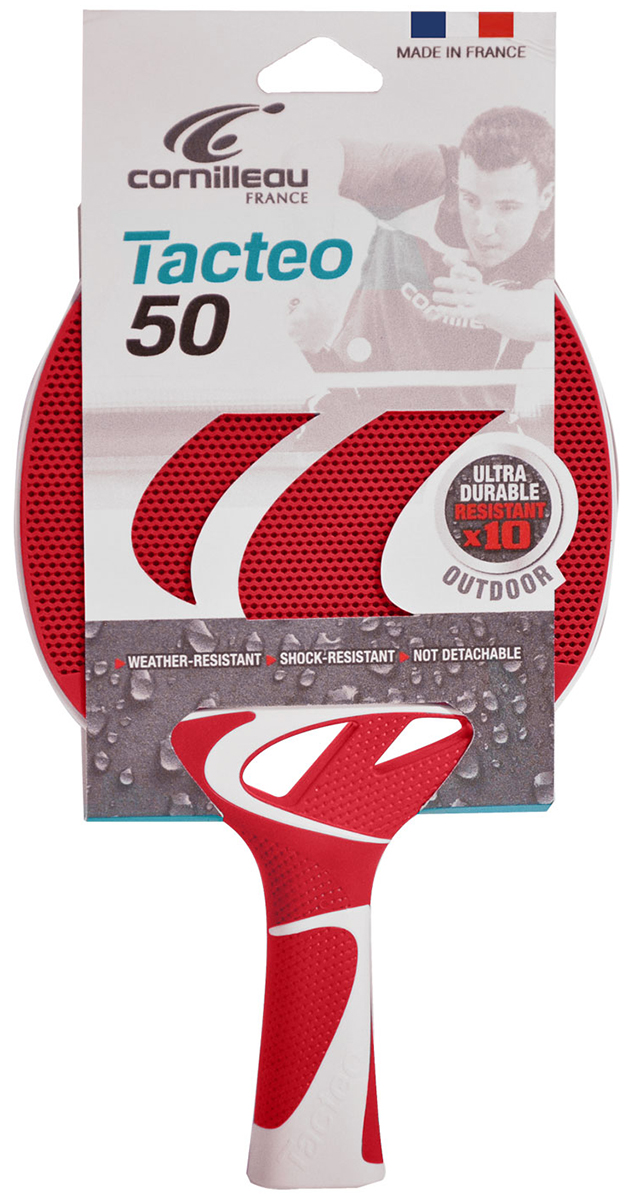 Ракетка для настольного тенниса Cornilleau Tacteo 50, всепогодная, цвет: красный, серый ракетка для настольного тенниса torres sport 1 tt0005