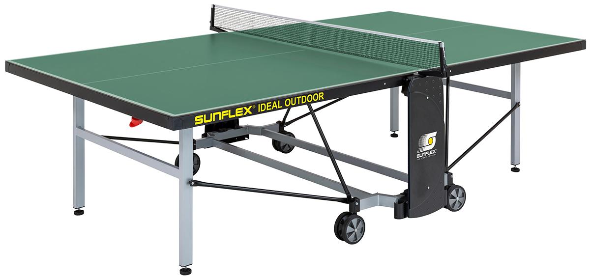 Стол теннисный Sunflex Ideal Outdoor, цвет: зеленый, с сеткой, 6 мм213.5110/SFТеннисный стол для использования на открытом воздухе компактной системы складывания с встроенной сеткой SUNFLEX IDEAL Outdoor.Цвет игровой поверхности: зеленыйИгровая поверхность: 6 мм ПКМ (полимерный композит) с меламиновым наполнителем. Разметка стола интегрирована в поверхность.Отбортовка игровой поверхности: стальной профиль 50 мм. Отбортовка соединяется с игровой поверхностью роботами!Основание рамы: в виде октаэдра из стальных труб прямоугольного сечения 50 х 30 мм с полимерным антикоррозионным покрытием.Система складывания: компактная (тип 4b), с управлением одной ручкой. Стол может быть сложен только наполовину.Оснащен 4-мя сдвоенными, обрезиненными колесами диаметром 128 мм. Все 4-е колеса маневровые.4 держателя для мячей в основании рамыВозможность точной регулировки высоты стола в игровом положении (юстировка)Сетка Perfect II-EN-Stationary с регулировкой по высоте и натяжению струны в комплекте.Размеры в игровом положении: 274см х 152,5см х 76см (в соответствии с международными правилами, ITTF)Размеры в сложенном положении: дл. 152,5см (184см по сетке) х шир. 69,5см х выс. 155смРазмеры в упаковке: выс. 162см х толщ. 15,5см х шир. 144смВес без упаковки: 75 кгВес в упаковке: 83 кгСделано в ГерманииГарантия: 2 года!