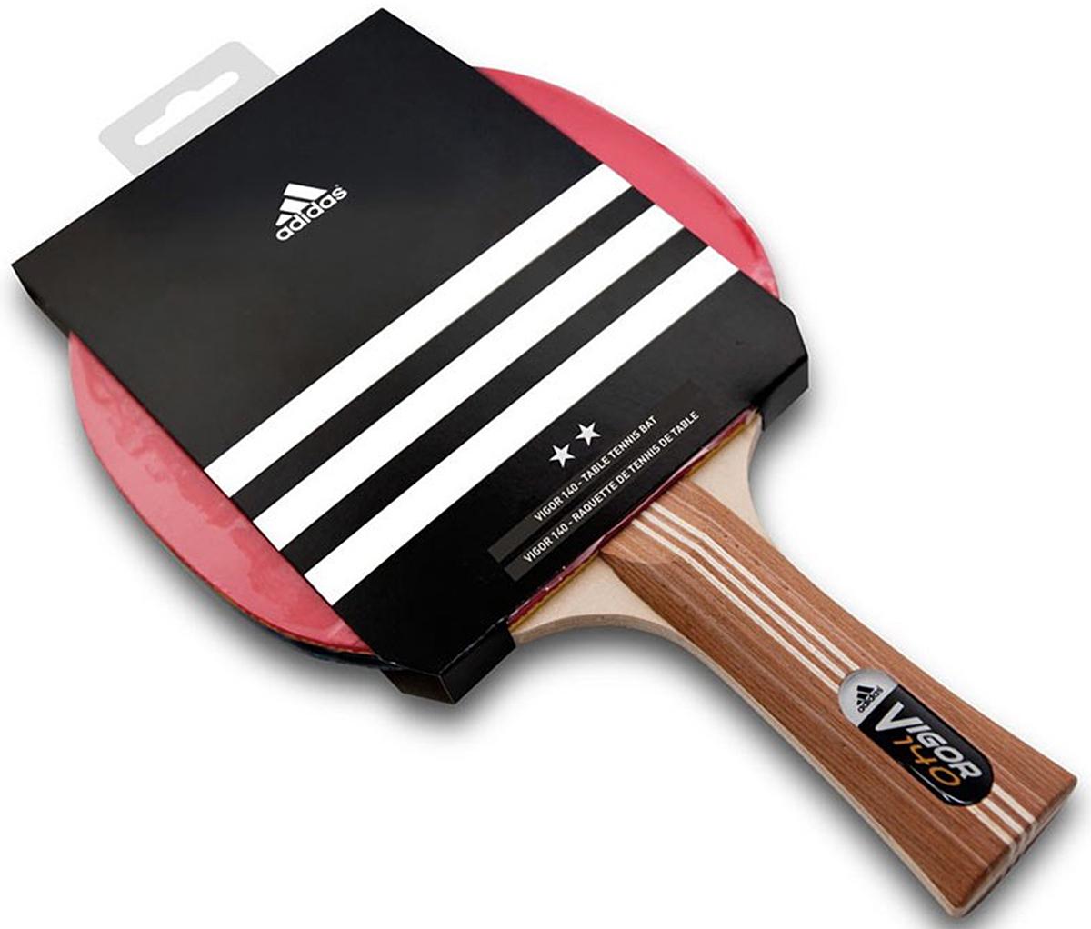 Ракетка для настольного тенниса Adidas Vigor 140, цвет: красныйAGF-12463Ракетка для любительской игры и тренировок. Ракетка прекрасно подходит для любителей игры в настольный теннис, сочетая в себе высокий показатель контроля над мячом при хороших скорости и вращении. Накладка с губкой толщиной 1,8 мм, пятислойное основание, анатомическая ручка.Скорость: 90Вращение: 90Контроль: 80Тип ручки: FL