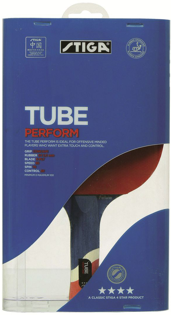 Ракетка для настольного тенниса Stiga Tube Perform WRB, цвет: красный ракетка для настольного тенниса stiga loop advance wrb