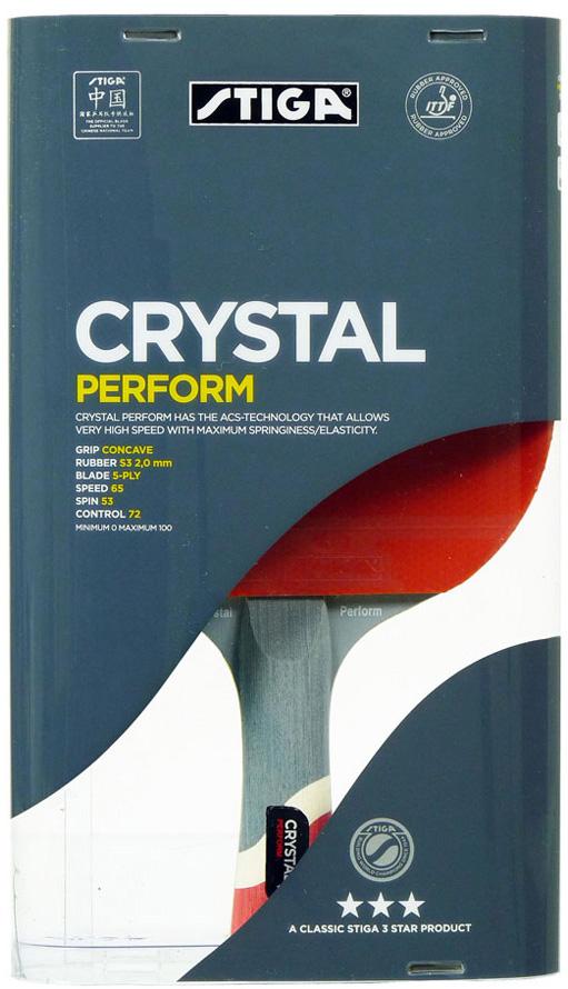 Ракетка для настольного тенниса Stiga Crystal Perform WRB, цвет: красный1586-01Ракетка Stiga Crystal Perform WRB станет прекрасным помощником на пути к вершинам профессионального тенниса. Она позволяет вести игру из различных зон, точно рассчитывая удары. Ее основание изготовлено из высококачественного шпона натурального дерева. Мягкая и эластичная губка накладок составляет 2 мм в толщину. В нашем интернет-магазине можно купить ракетку для тенниса с идеальным балансом вращения, скорости и контроля. Скорость: 65 Вращение: 53 Контроль: 72