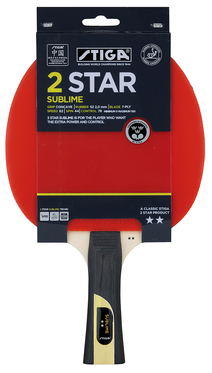 Ракетка для настольного тенниса Stiga Sublime WRB, цвет: красный1623-01Ракетка Stiga Sublime WRB- игрокам очень легко выполнять атакующие удары с большой мощью, при высоком контроле благодаря технологиям. Основание ракетки собрано из 6-и слоев шпона Американской липы и центрального слоя бальзы с применением технологии WRB. Система WRB улучшает отскок, придает дополнительную силу удару и позволяет лучше чувствовать мяч. Технология Balsa уменьшает вес. Эта технология позволяет добиться очень высокой скорости в сочетании с максимальной эластичностью в сверхлегкой накладке с замечательным контролем.