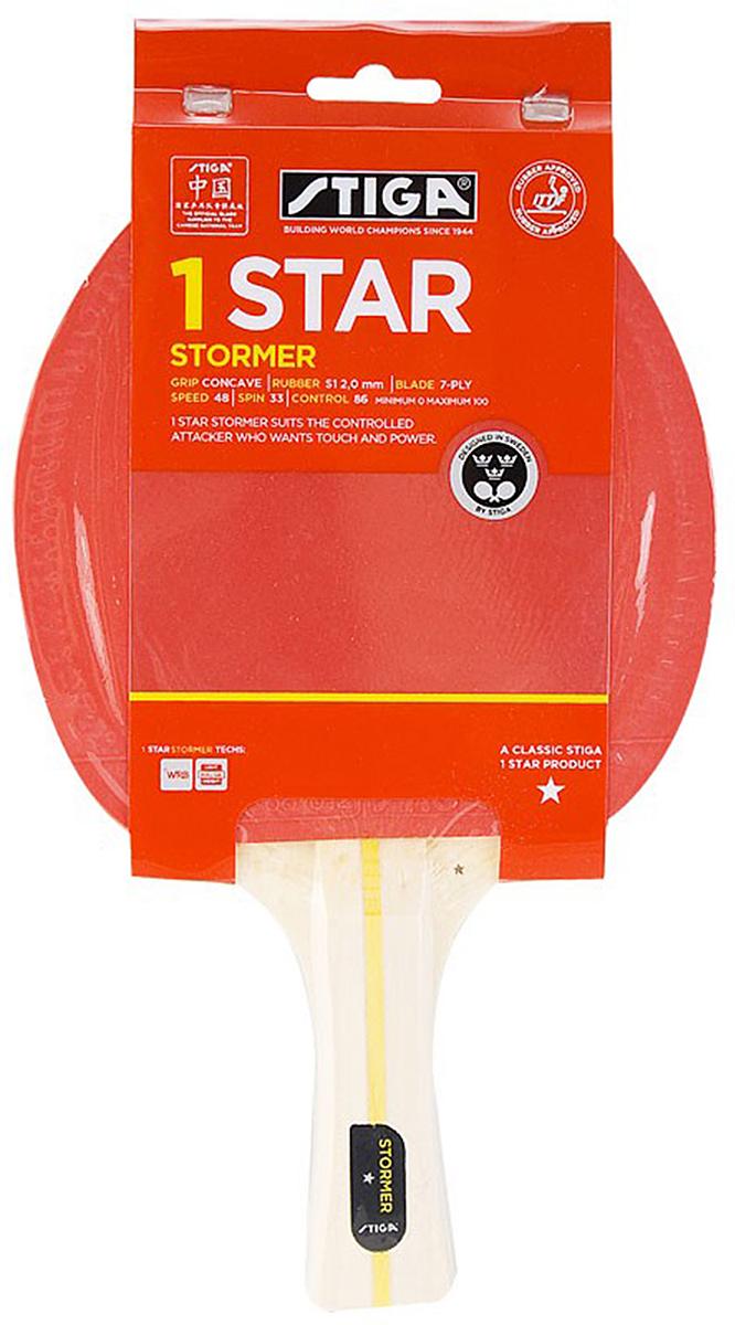 Ракетка для настольного тенниса Stiga Stormer WRB, цвет: красный1723-01Ракетка Stiga Stormer WRB подходит для разносторонних игроков, стремящихся к контролю и силе ударов. Основание ракетки собрано из 6-и слоев шпона Американской липы и центрального слоя бальзы с применением технологии WRB. Система WRB улучшает отскок, придает дополнительную силу удару и позволяет лучше чувствовать мяч. Технология уменьшает вес.