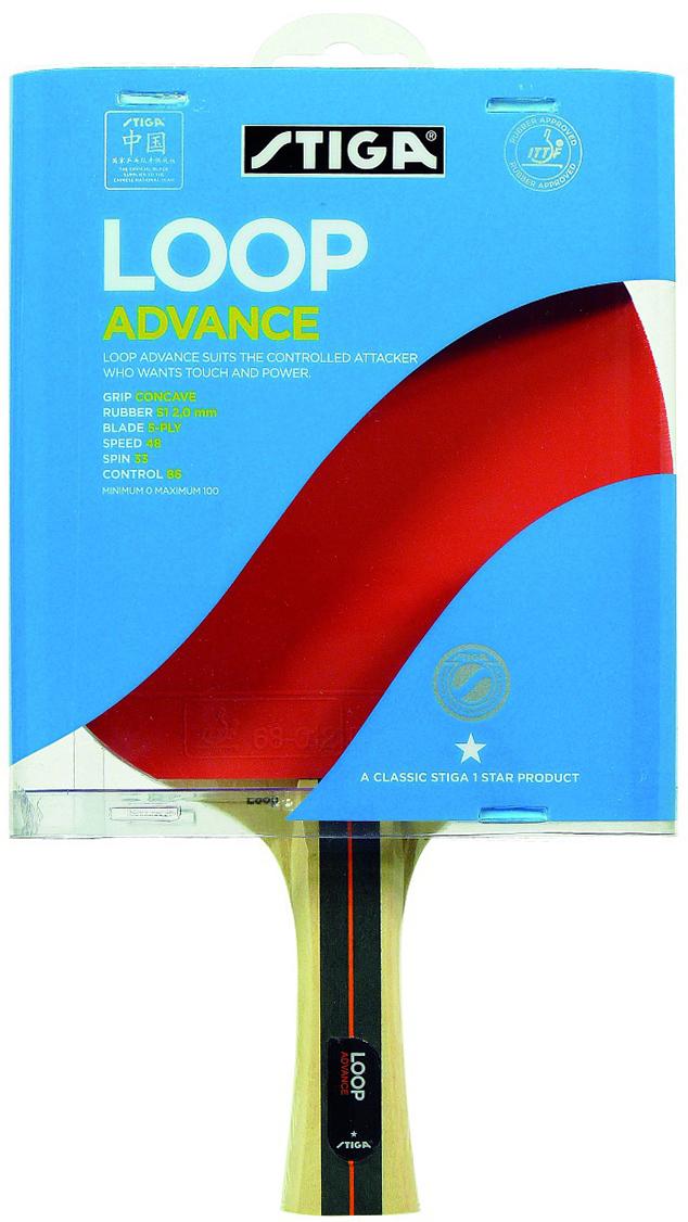Ракетка для настольного тенниса Stiga Loop Advance WRB, цвет: красный1788-01Ракетка Stiga Loop Advance WRB – качественная готовая ракетка для любителей настольного тенниса и начинающих спортсменов. Модель 2011 года. Основание ракетки сделано из пятислойного шпона Серебристого тополя и американской липы. Использована оригинальная технология WRB – баланс веса и отскока. Скорость: 48 Вращение: 33 Контроль: 86
