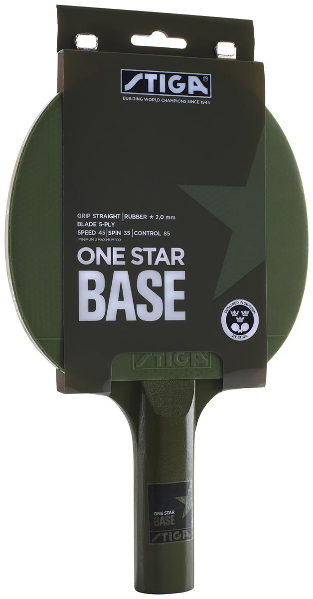 Ракетка для настольного тенниса Stiga Base, ручка-стрэйт, цвет: зеленый1211-1113-01Ракетка для настольного тенниса Stiga Base, 1 звезда, подходит атакующему игроку, который любит контроль и силу в каждом ударе. Накладка толщиной - 2,0 мм. Пятислойное основание.