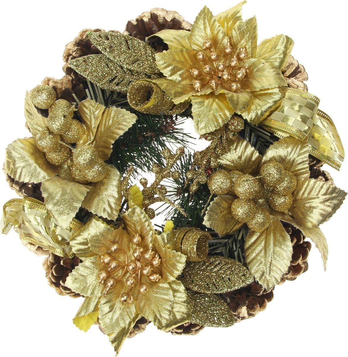 Новогоднее декоративное украшение Sima-land Венок. С цветами и лентами, золото, диаметр 20 см свеча ароматизированная sima land лимон на подставке высота 6 см