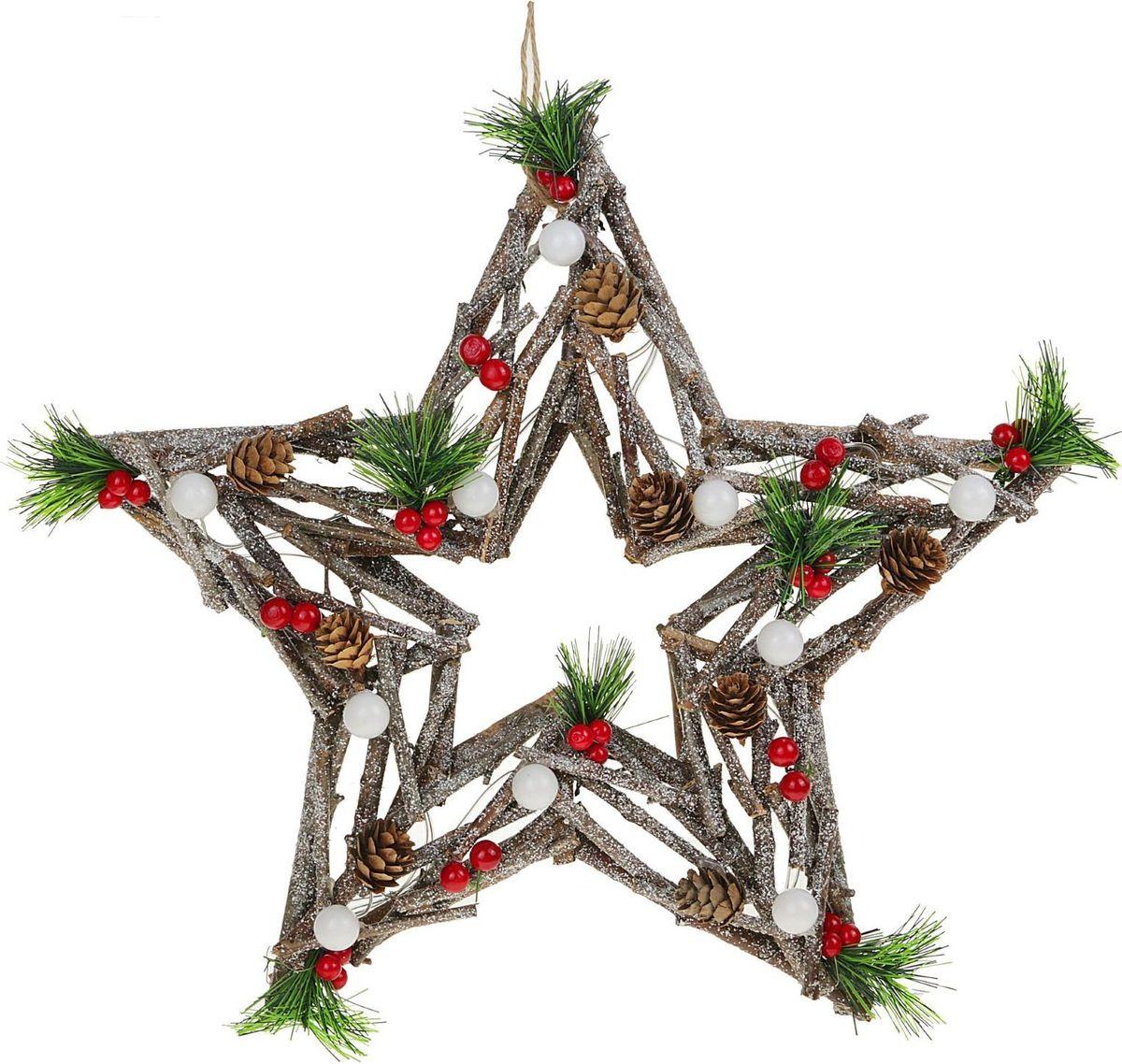 Новогоднее декоративное украшение Sima-land Звезда из веток, со светодиодной подсветкой, диаметр 40 см елочные украшения русские подарки декоративное украшение с led подсветкой