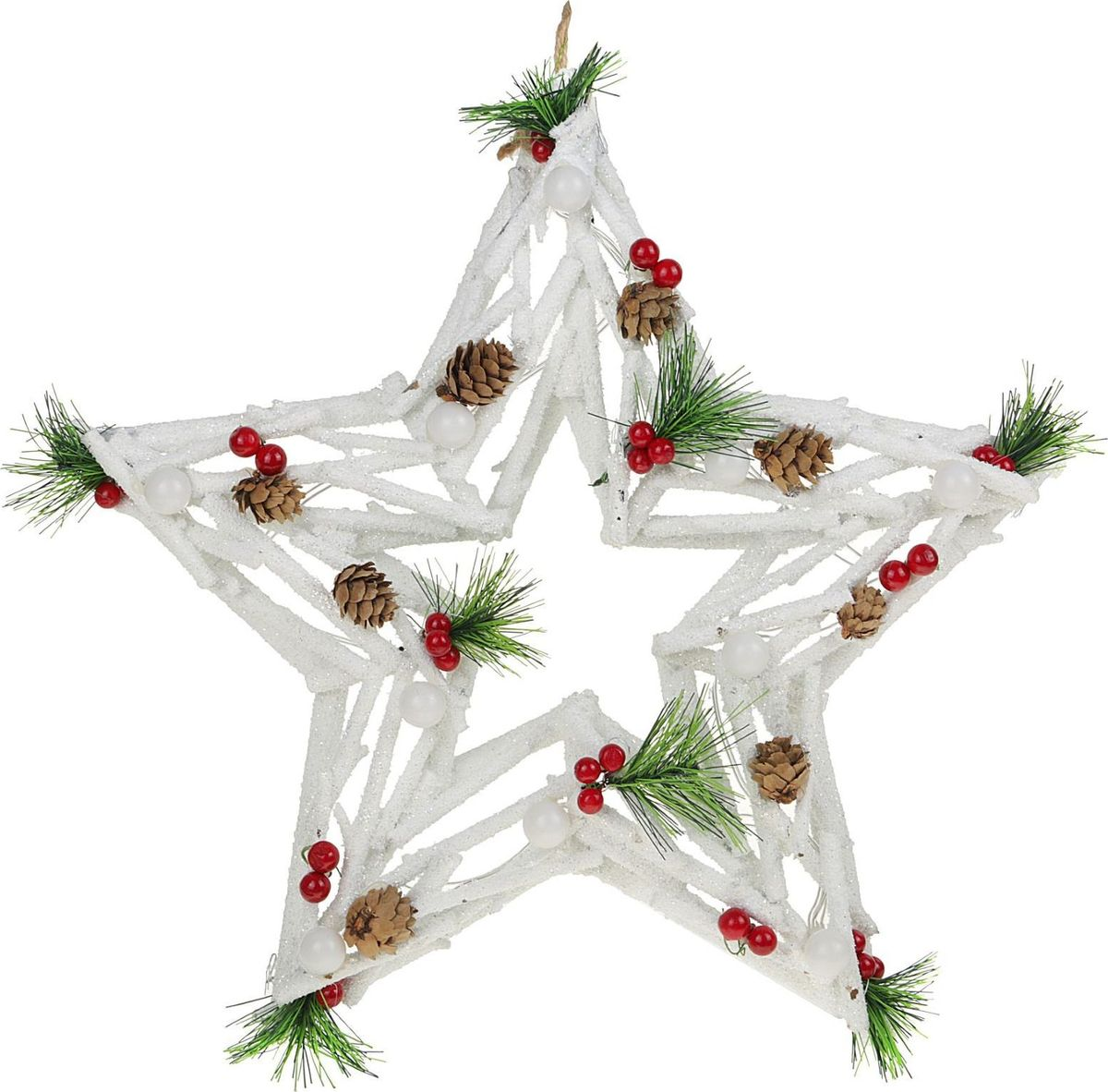 Новогоднее декоративное украшение Sima-land Звезда из белых веток, со светодиодной подсветкой, диаметр 40 см елочные украшения русские подарки декоративное украшение с led подсветкой