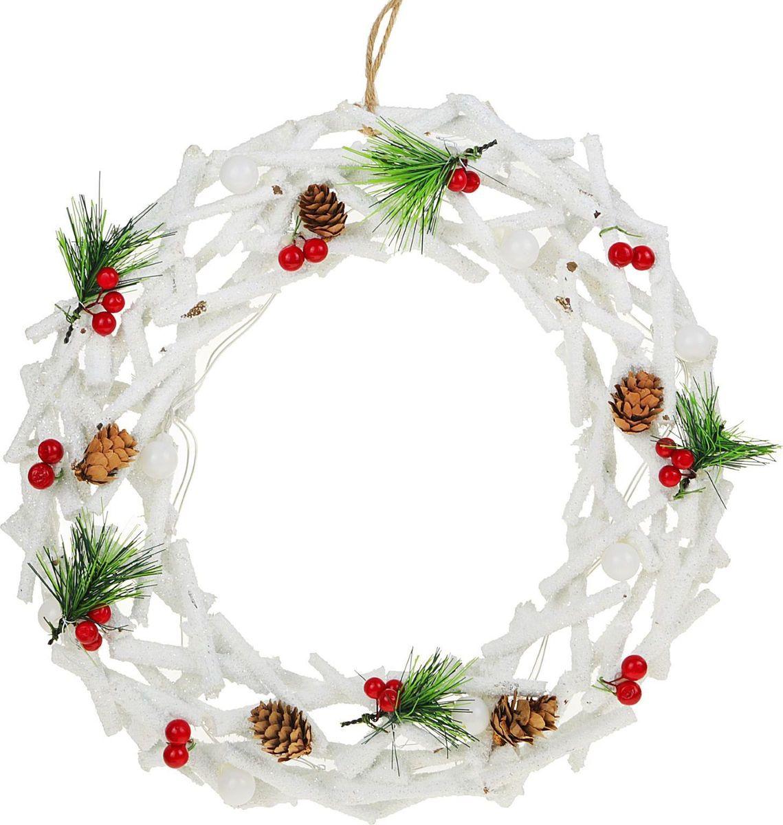 Новогоднее декоративное украшение Sima-land Венок из белых веток, со светодиодной подсветкой, диаметр 35 см слэп лента со светодиодной подсветкой красная