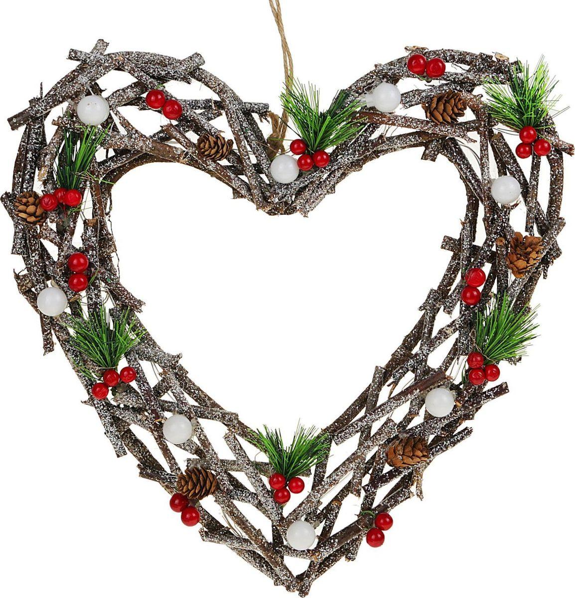 Новогоднее декоративное украшение Sima-land Сердце из веток, со светодиодной подсветкой, диаметр 35 см слэп лента со светодиодной подсветкой красная