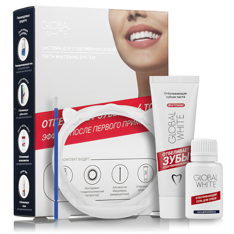 Global White Система для интенсивного отбеливания зубов (отбеливающий гель 15мл + отбеливающая зубная паста 30 мл) global white гель отбеливающий для зубов global white 14004 15 мл
