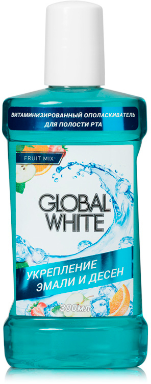 Global White Витаминизированный ополаскиватель, 300 мл128269Ополаскиватель выполняет сразу несколько функций, дополняя эффект от других средств:Проникает труднодоступные участки, укрепляет эмаль, освежает дыхание, предотвращает кариес, тонизирует десны.