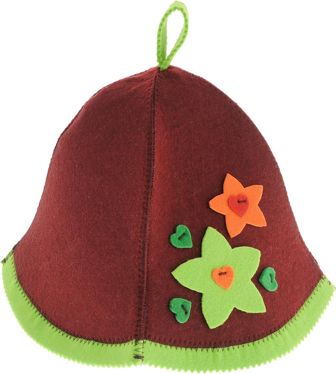 Шапка для бани и сауны Доктор баня Букет, цвет: бордовый шапка для бани и сауны доктор баня классическая кант