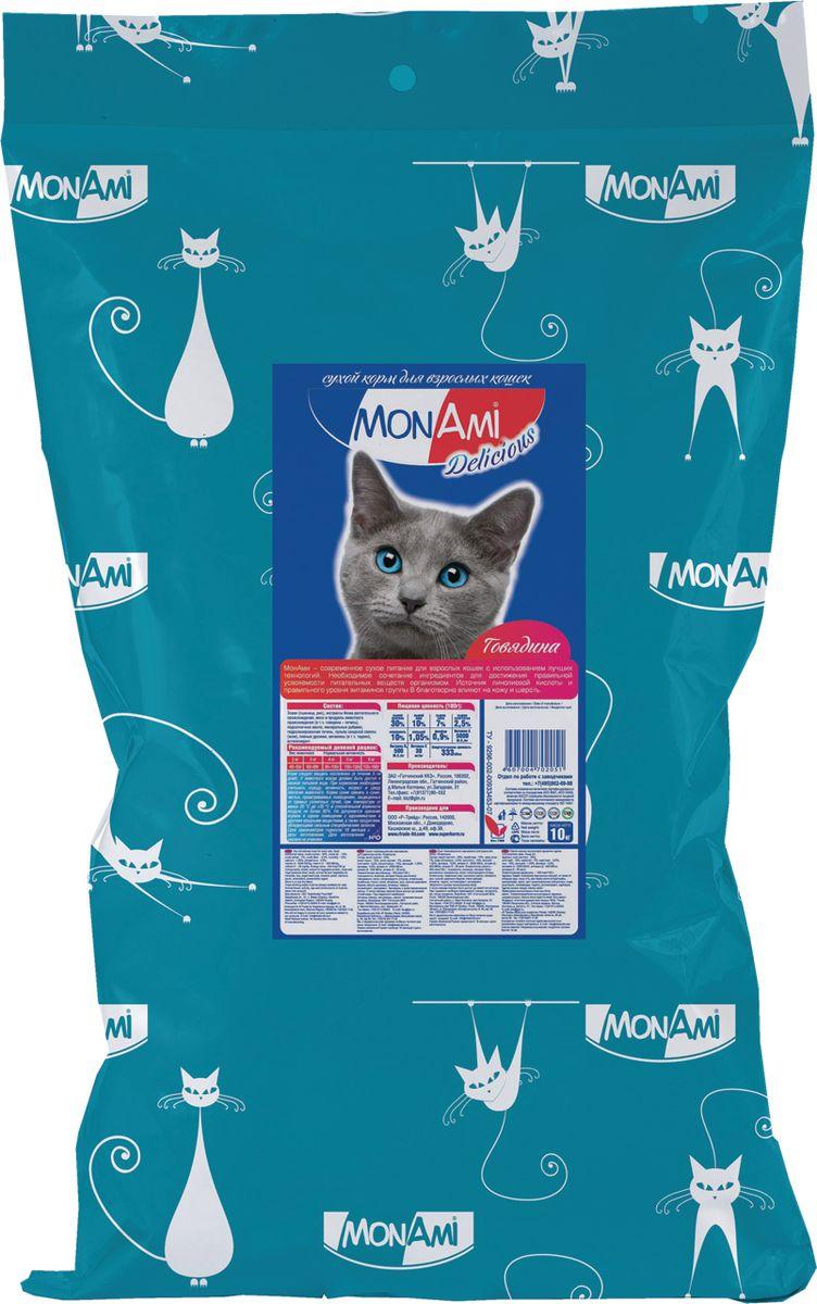Корм сухой MonAmi для взрослых кошек, с говядиной, 10 кг201002032Сухой корм MonAmi - это полноценное сбалансированное питание для взрослых кошек, разработанное с использованием современных технологий.Особенности рациона:Необходимое сочетание ингредиентов для достижения правильной усвояемости питательные веществ организмом.Источник линолевой кислоты и правильного уровня витаминов группы B благотворно влияют на кожу и шерсть.Таурин для здоровья глаз и сердца. Характеристики:Состав: злаки (пшеница, рис), экстракты белка растительного происхождения, мясо и продукты животного происхождения (в т.ч. сердце), подсолнечное масло, минеральные добавки, гидролизированная печень, пульпа сахарной свеклы (жом), витамины (в т.ч. таурин), пивные дрожжи, антиоксидан.Питательность: сырой протеин - 30%; сырой жир - 10%; сырая зола - 7%; сырая клетчатка - 2,5%; влажность - 10%; кальций - 1,05%; фосфор - 0,9%; витамин А - 5000 МЕ/кг; витамин Д3 - 500 МЕ/кг; витамин Е - 30 мг/кг.Энергетическая ценность на 100 грамм: 333 ккал. Вес: 10 кг.Товар сертифицирован.