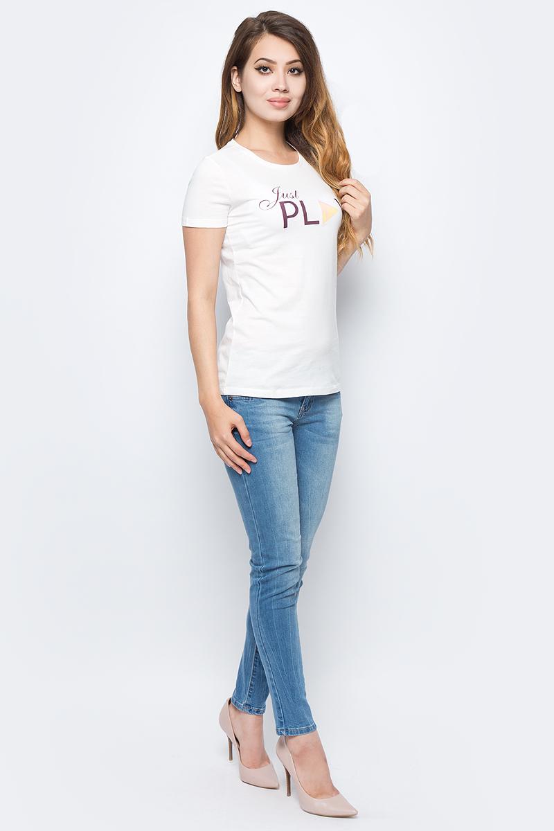 Футболка женская Sela, цвет: молочный. Ts-111/957-7351. Размер M (46)Ts-111/957-7351Женская футболка от Sela выполнена из натурального хлопкового трикотажа. Модель полуприлегающего силуэта с короткими рукавами и круглым вырезом горловины оформлена принтованными надписями.