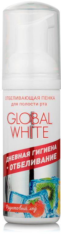 Global White Отбеливающая пенка для полости рта глобал вайт Фруктовый лед 50 мл global white