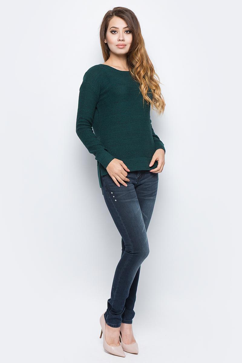 Джемпер женский Sela, цвет: зеленый. JR-114/1202-7321. Размер XL (50)JR-114/1202-7321Женский джемпер от Sela выполнен из натурального хлопка. Модель с длинными рукавами и круглым вырезом горловины имеет удлиненную спинку.