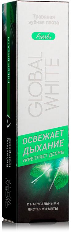 Global White Травяная зубная паста Фреш, 100 мл104Ежедневный уход. Активные компоненты входящие в состав бережно очищают, надолго освежают дыхание и оказывают антисептическое действие. В состав пасты входят натуральные листья мяты. Экстракт крапивы содержит витамины K A C E B5 и микроэлементы, которые способствуют усилению обмена веществ в тканях и стимулируют процессы регенерации в полости рта. Экстракт ромашки способствует предотвращению воспаления тканей дёсен и оказывает успокаивающее и антисептическое действие. Экстракт брусники и зверобоя содержит в составе витамин С и микроэлементы,обладающие бактерицидным и вяжущим свойствами.