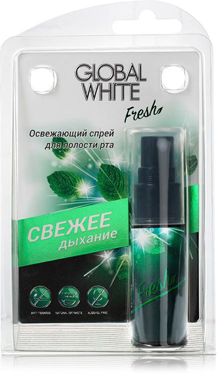 Global White Освежающий спрей для полости рта, 15 мл177Спрей увлажняет слизистую оболочку полости рта и способствует устранению неприятного запаха изо рта после приема пищи, табака, алкоголя