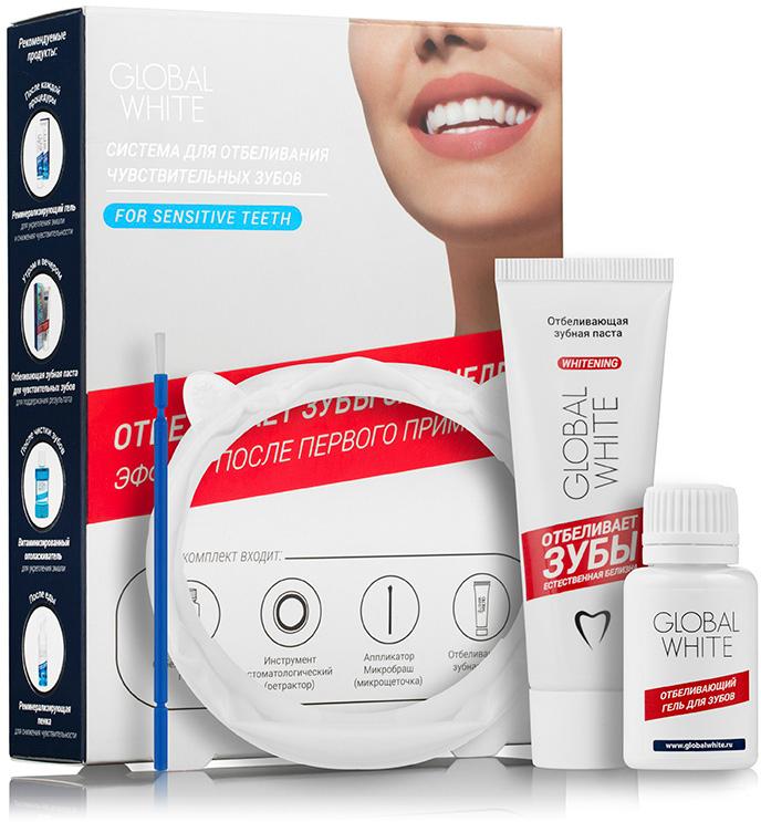Global White Система для отбеливания чувствительных зубов: отбеливающий гель 15мл, отбеливающая зубная паста 30 мл.
