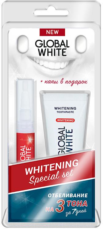 Global White Набор отбеливающий: карандаш, зубная паста + капы в Подарок4605370012675Всего два шага для эффективного отбеливания зубов за 7 дней! Шаг 1. Удаление ежедневного налета отбеливающей зубной пастой. Шаг 2.Обесчвечивание пигментов, влияющих на цвет эмали,отбеливающим гелем с активным кислородом. В комплект входит отбеливающая зубная паста с комплексом четырех образивов. Эффективно справляется с налетом на поверхности эмали , бережно очищая зубы перед отбеливанием. Отбеливающий гель ,при контакте с налетом выделяет активный кислород, который обеспечивает пигменты, влияющие на цвет эмали. Гель препятствует чувствительности за счет содержания нитрата калия. Стоматологические каппы, помогают сделать процедуру отбеливания профессиональной, как у стоматолога. Отбеливание на 3 тона в течение 1 недели (клинически доказано). Снижает чувствительность зубов(содержит нитрат калия), удаляет налет от кофе, вина и табака.