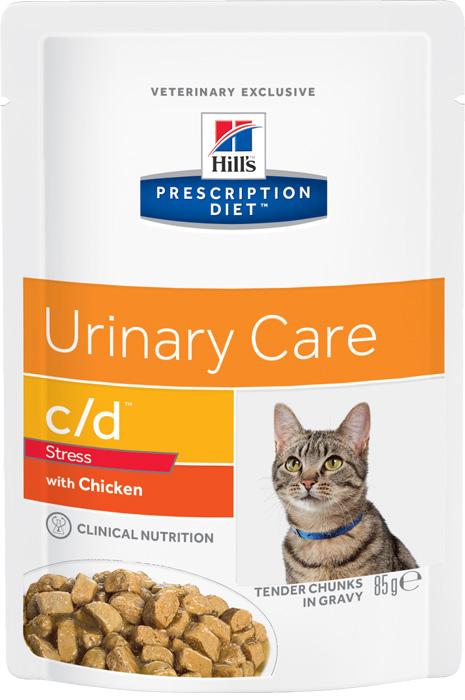 Консервы для кошек Hills Urinary Track Health, при урологическом синдроме, с курицей, 85 г2862Консервы Hills Urinary Track Health - это диетический рацион, который снижает вероятность повторного проявления признаков идиопатического цистита кошек (ИЦК), и содержит ингредиенты для борьбы со стрессом - основным фактором риска ИЦК. Ключевые преимущества:Клинически доказано: снижает вероятность повторного проявления признаков ИЦК на 89%*Содержит L-триптофан и гидролизат молочного протеина для контроля стресса - основного фактора риска ИЦККлинически доказано: эффективно растворяет струвиты Превосходный вкус, который понравится вашей кошкеОмега-3 жирные кислоты (ЭПК и ДГК) помогают разрушить цикл воспаленияДобавлены ГАГи (гликозаминогликаны), которые являются естественным компонентом слизистой оболочки мочевого пузыряМинимальное содержание магния, фосфора, кальция снижает концентрацию компонентов струвита в моче (магния и фосфата), а также кальция и оксалатаКонтролируемое содержание натрия помогает поддерживать здоровье почекДобавленный цитрат образует растворимые комплексы с кальцием и подавляет образование кальция оксалатаpH мочи 6.2-6.4 препятствует образованию и агрегации кристаллов струвита, не инициируя формирование оксалатных кристалловДобавлены витамин E и Бета-каротин, которые нейтрализуют действие свободных радикалов, участвующих в развитии уролитиазаВитамин С не входит в состав рациона, поскольку является прекурсором оксалатаРекомендуется комбинировать питание (сухой и консервированный корм/пауч). В паучах больше воды, что повышает объем мочи, таким образом снижая концентрацию в ней компонентов уролитов.Состав: зерновые злаки, мясо и производные животного происхождения, рыба и рыбные производные, экстракты растительного белка, производные растительного происхождения, различные сахара, масла и жиры, минералы, яйцо и его производные, молоко и продукты молочного происхождения, моллюски и ракообразные, дрожжи. Подкисляющее мочу вещество: DL-метионин.Анализ: белок 8,